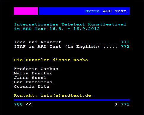International Teletext Art Festival // Berlin 2012 // Week 1 Artists