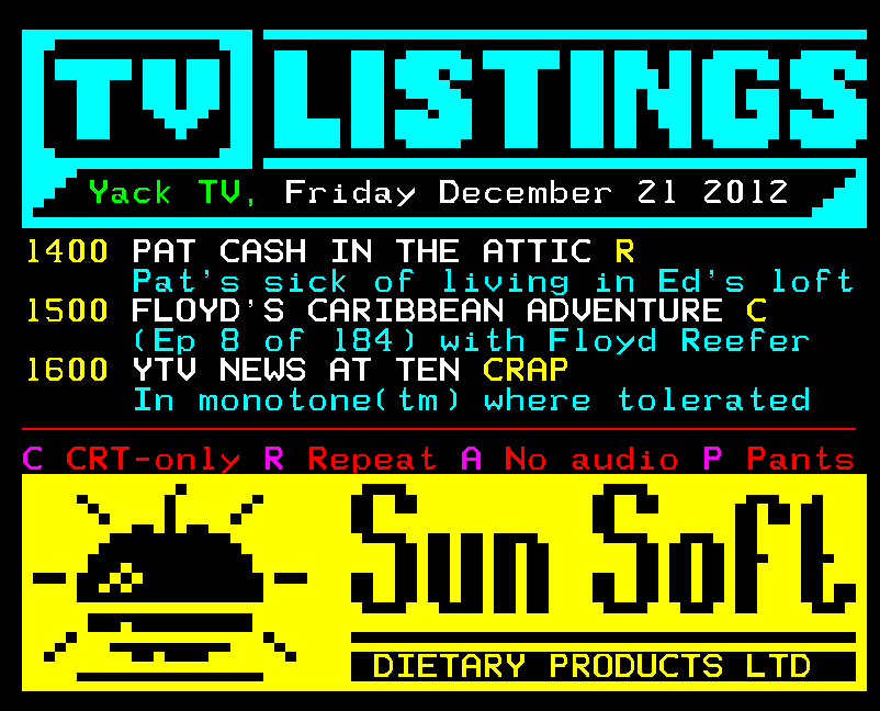 Teletext Art // Yack Text TV listings