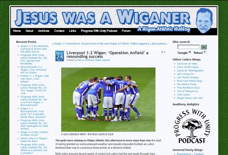Jesus Was a Wiganer 2010 redesign