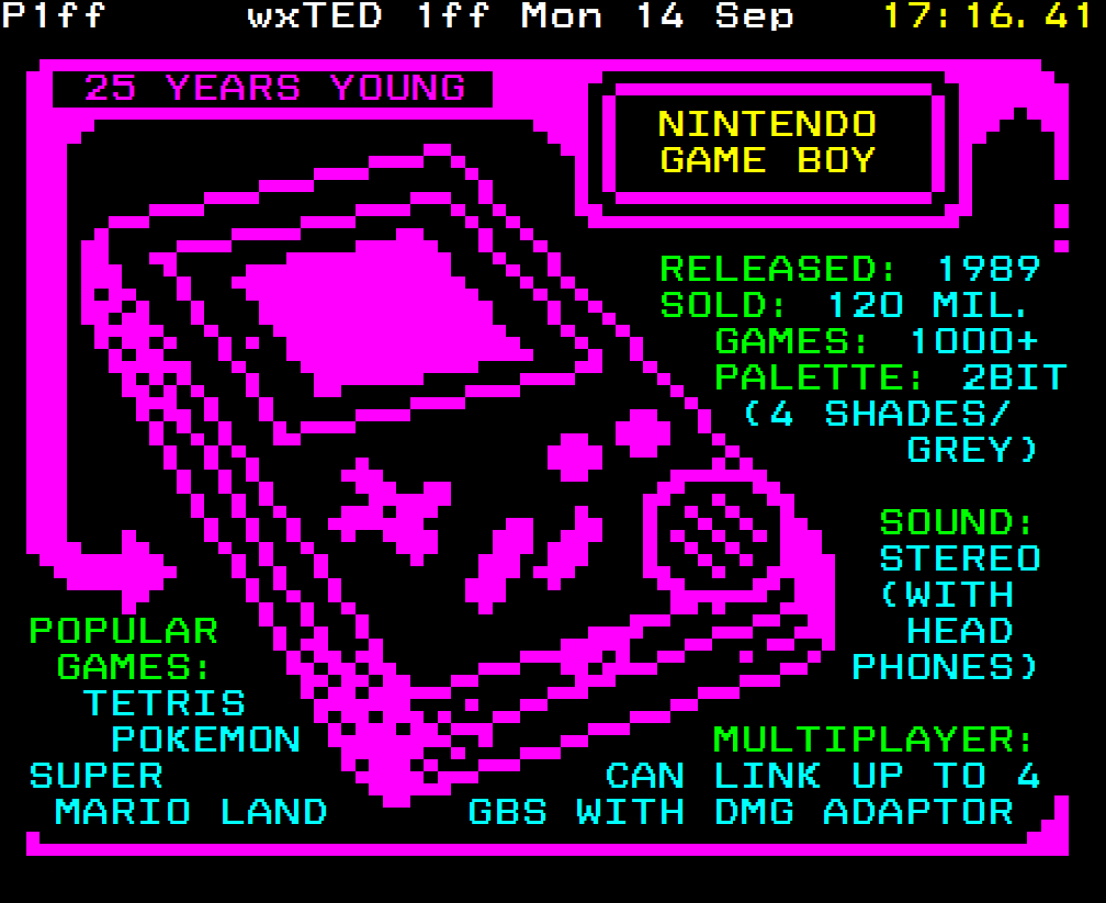 Game Boy // Superbyte teletext art 2015