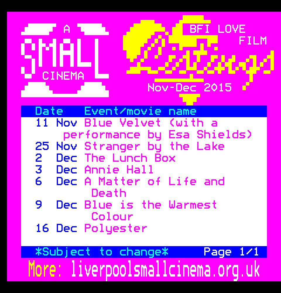 Small Cinmea Love Film listings